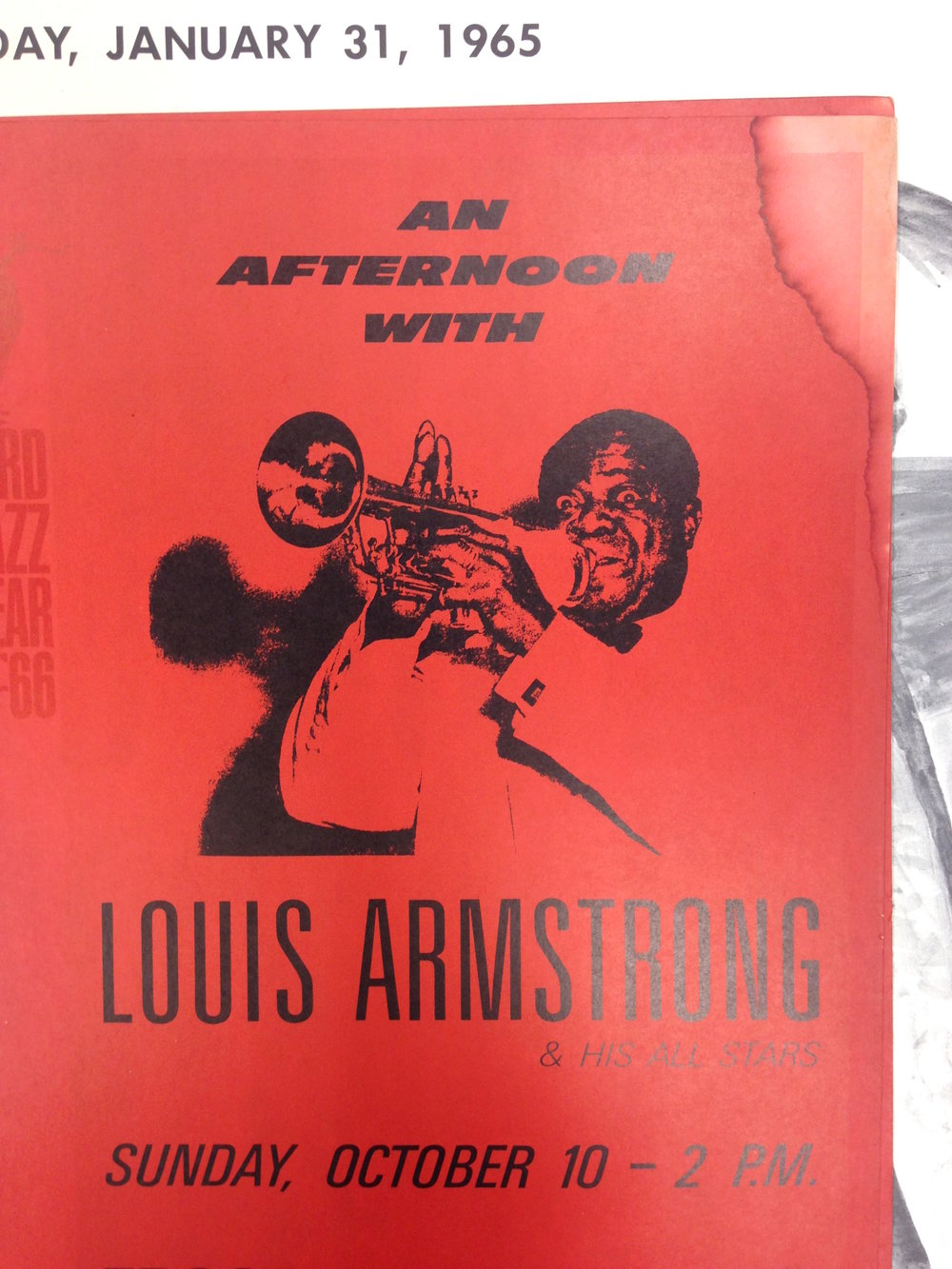 new orleans jazz archives louis armstrong an afternoon with louis armstrong and his all stars jazz poster 1966 stanford university spring finn and co adventures