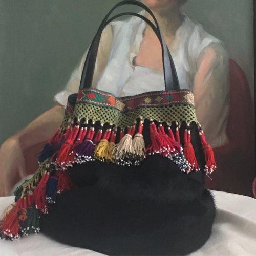e5dfb0850 Hair on hide and vintage uzbek tassels Bucket Bag, ...