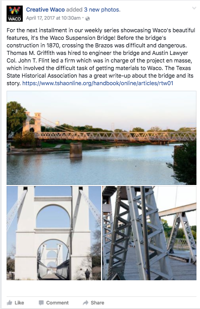Waco's Suspension Bridge is an easily identifiable figure in local architecture.