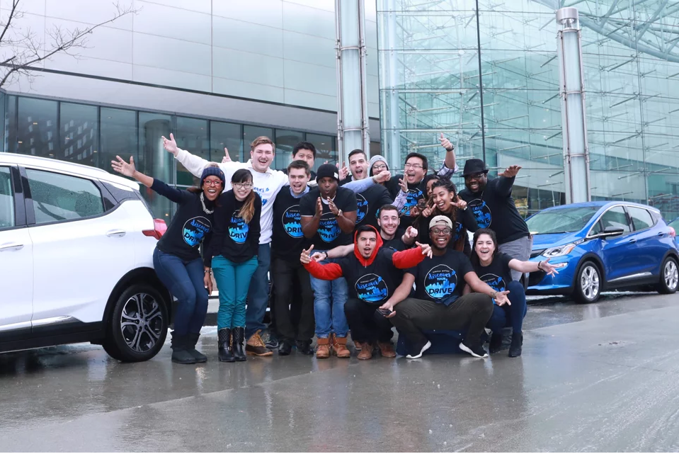The Discover Your Drive team outside of GM World Headquarters at the Renaissance Center.