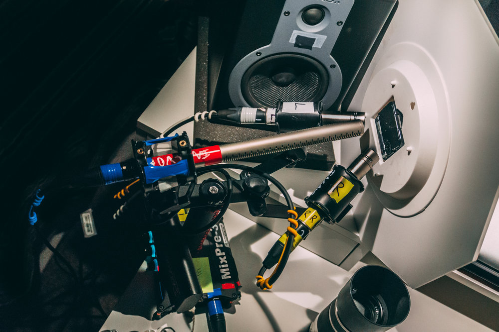 The Rode NT5's are configured in a sort of micro-ORTF stereo array with a Rode NTG3 in the center. Everything is being recorded into a Sound Devices MixPre-3 powered by an Anker PowerCore+ 20100 USB-C battery.