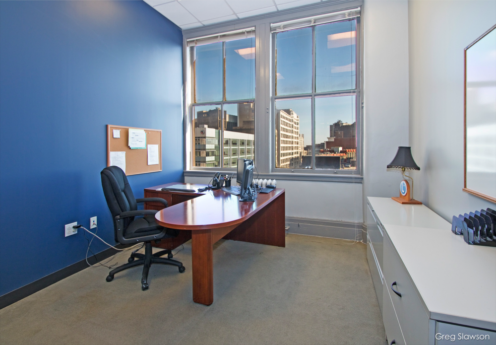 caxton office space with cleveland window view