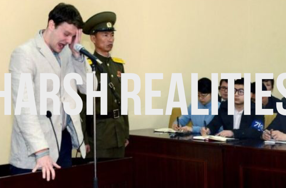 Harsh Realities   Otto Warmbier sentencing & text Archival Digital Print.  2017 9:16