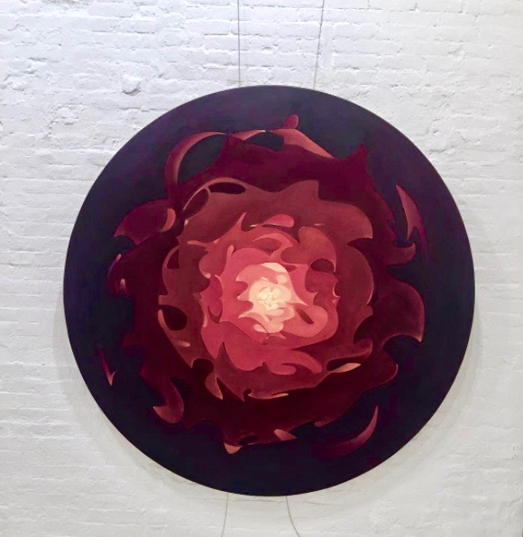 """UNTITLED (red)  oil paint on canvas.  2015 72 """" diameter"""