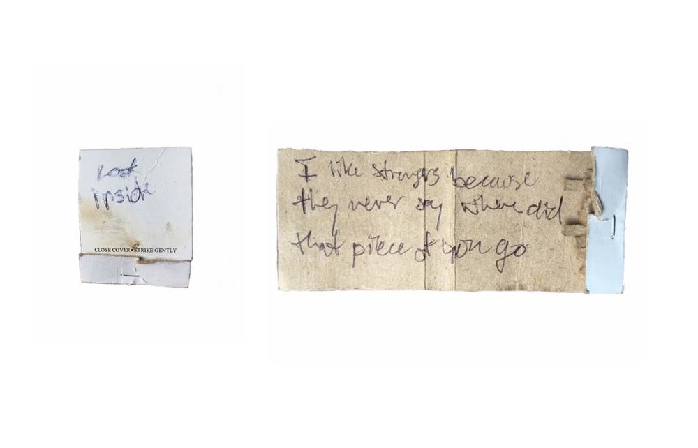 """LOVE NOTE ( 12.2016 - NY )  match-box and quote by Owen Lily  2.5 """" x 2.75 """" (closed) &2.5 """" x 5.75 """" (open)"""
