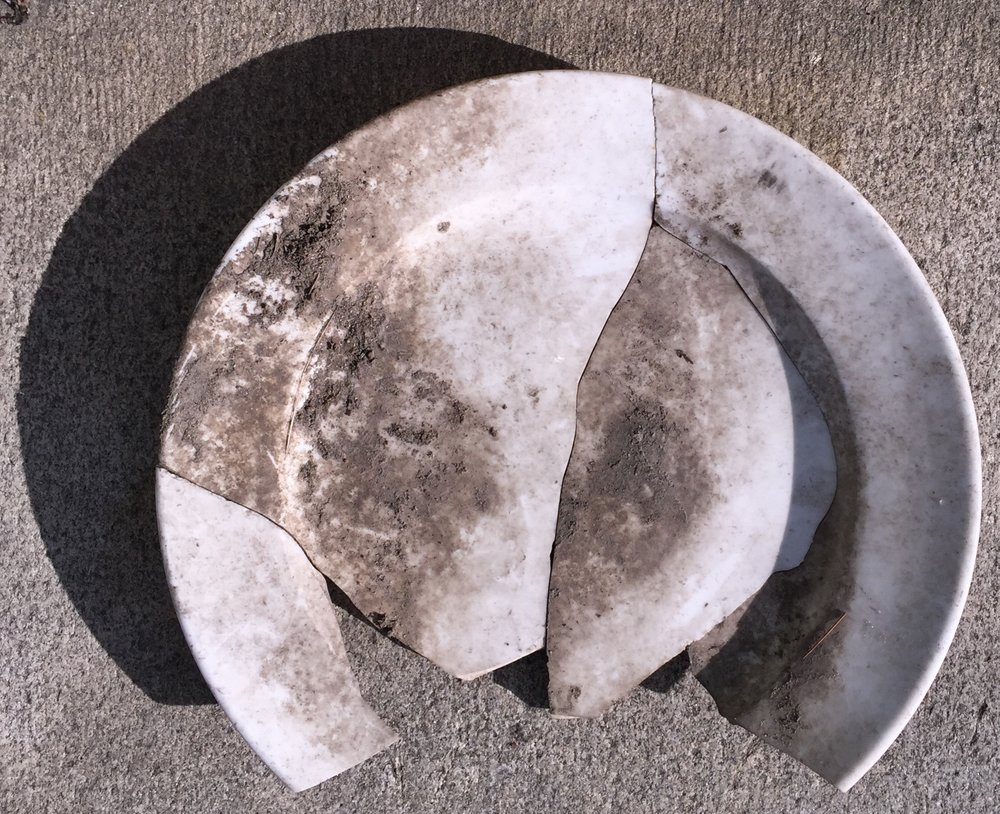"PLATE FOR LUDWIG BOHMAN AT GREENWOOD CEMETERY ( 11.2017 - NY )  reassembled broken plate   8 "" diameter"