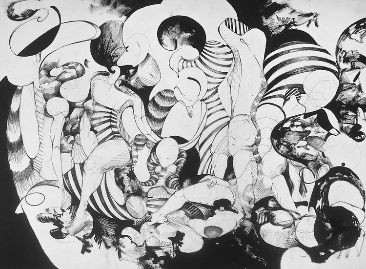 """8 BATHERS (after Matisse's 'Seven Bathers')  pen on paper  15"""" x 33"""""""