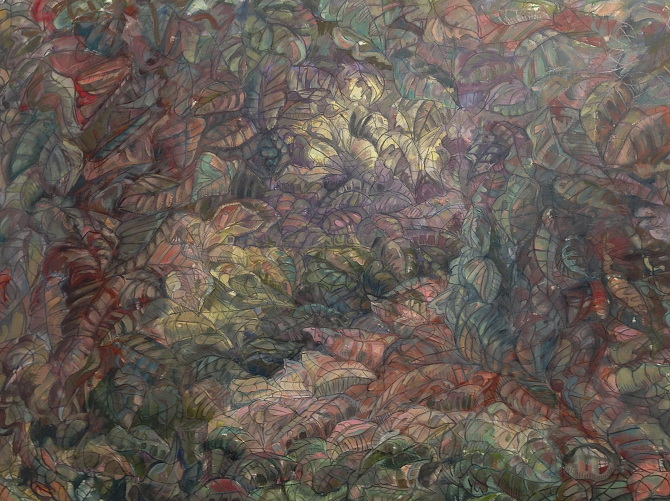 """STILL LIFE AS LEAVES  oil paint, graphite on canvas paper  22 """" x 30 """""""
