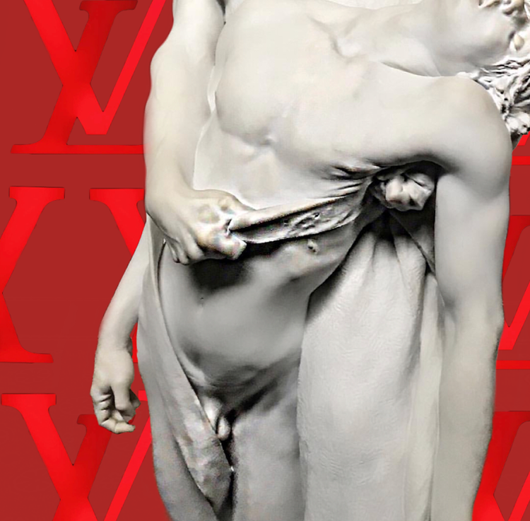 LB LV Louis Vuitton Logo & Marble Sculpture digital collage. 2018 1:1