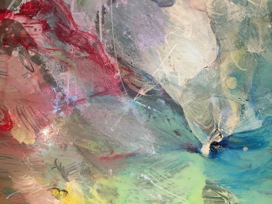 "LANDSCAPE I oil paint on glass. 2017 4 "" x 6 """