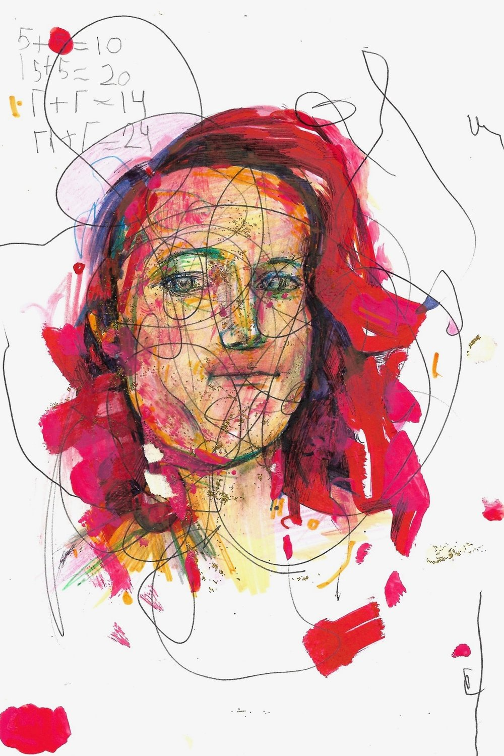 SARAH  mixed media on paper.  2018 6 in x 8 in
