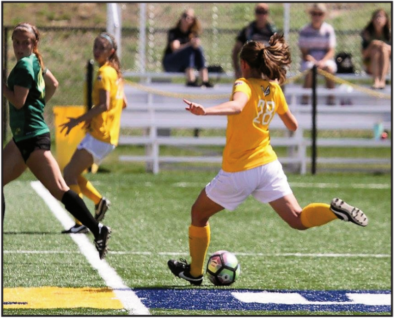 Player #28 aims to pass the ball across the field.