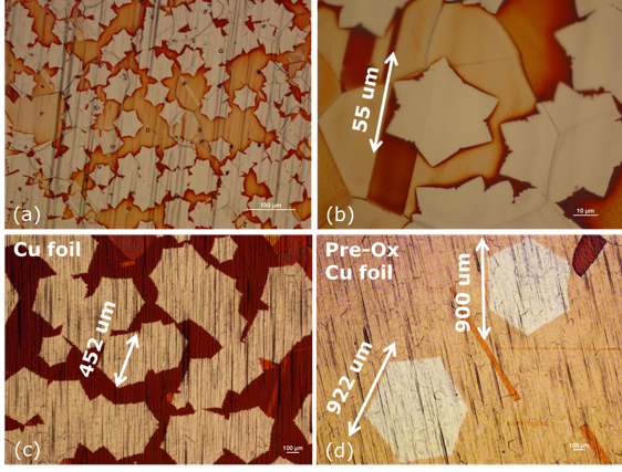 Figure 1. Optical images of graphene single crystals