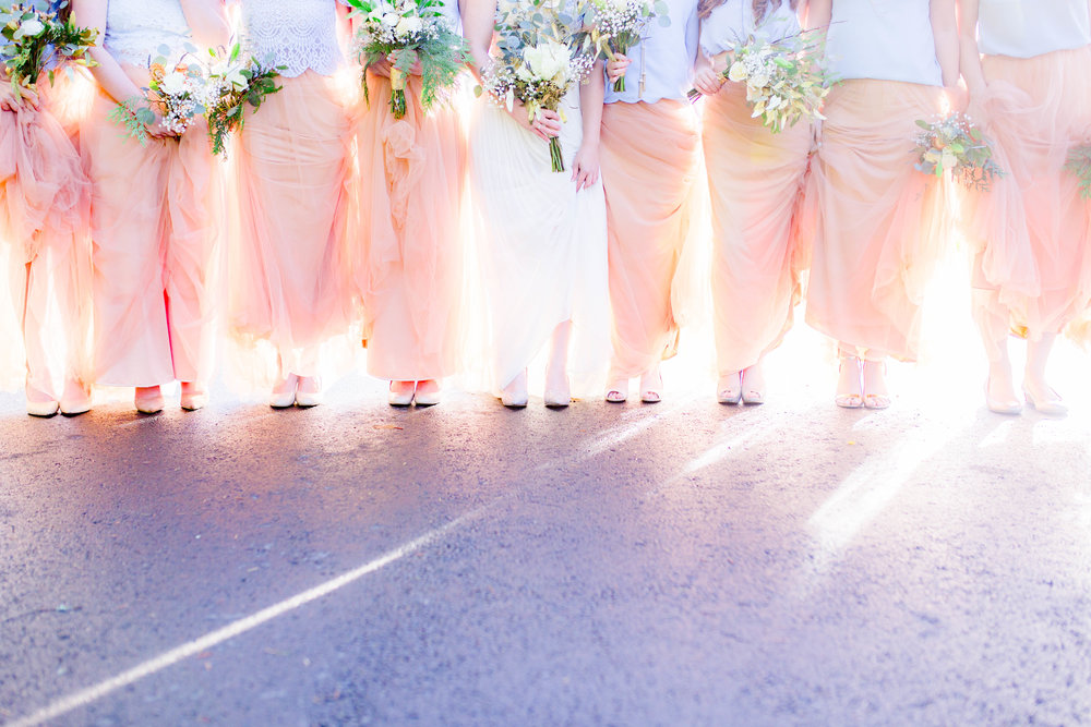 Bridesmaids, bridal party shoe shot, bridal party flowers