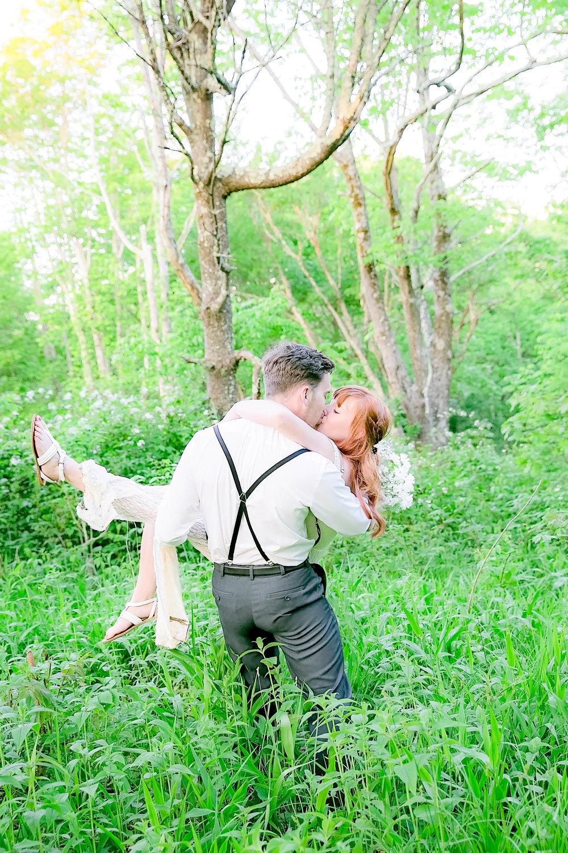 Groom carrying bride, wedding couple, Beauty Spot, Roan Mountain