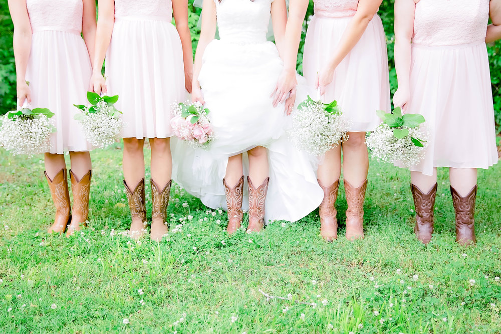 Bridesmaids shoes, cowgirl boots, cowboy boots, baby's breath bouquets