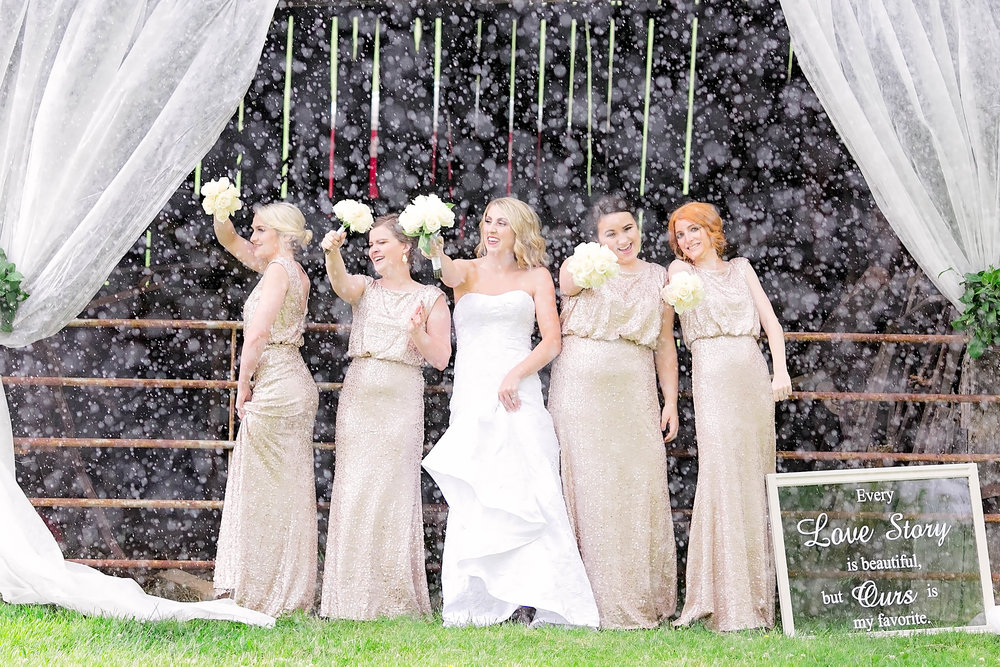 Bridesmaids, bridal party, rainy day wedding