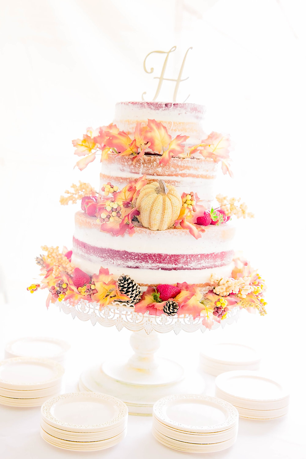 Wedding cake, naked wedding cake, fall wedding cake