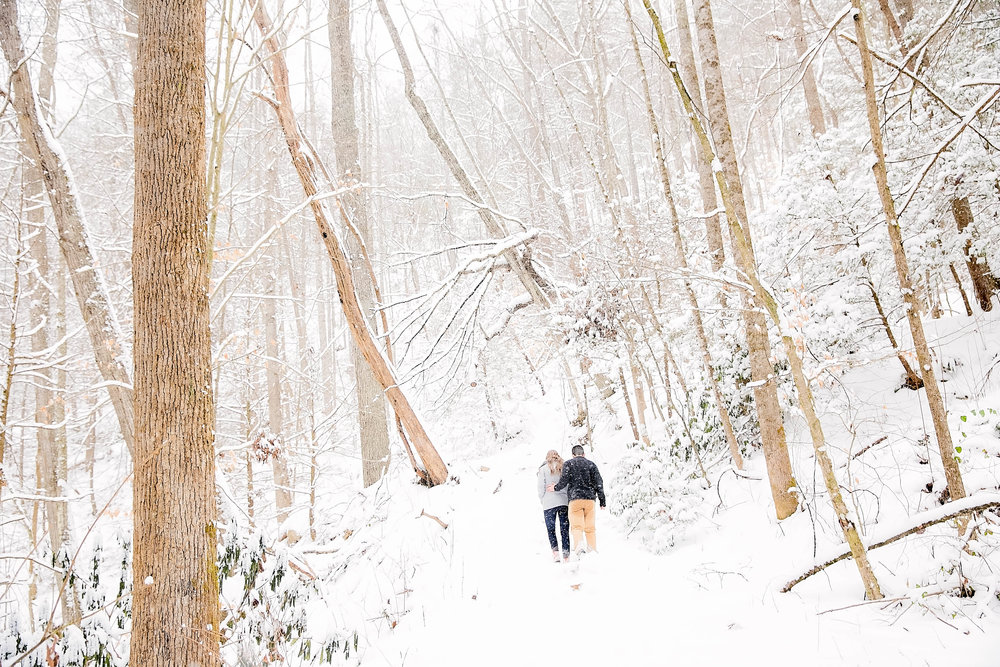 Laurel Falls hiking trail engagement session, romantic hike, East Tennessee snow engagement picture, Tri Cities wedding photography, Johnson City, TN photography, romantic couple in the snow