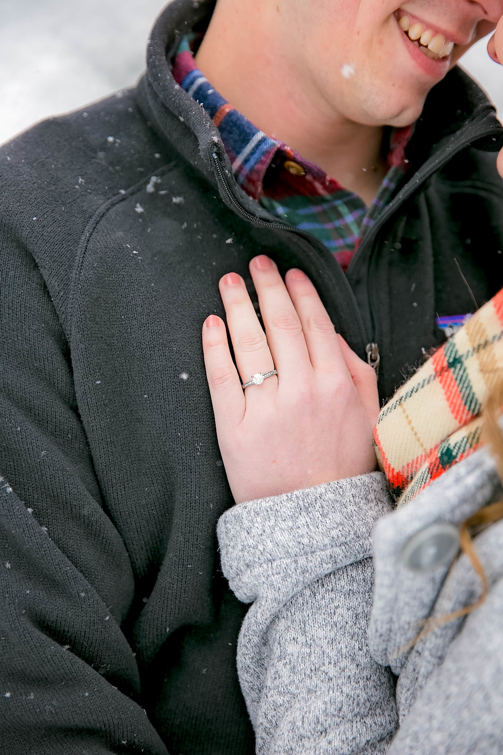 Engagement ring, snowy engagement session