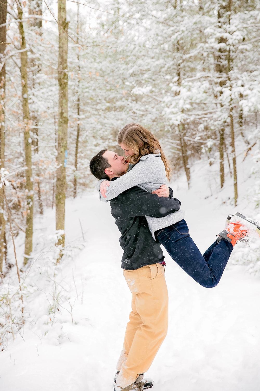Engagement session kissing photo