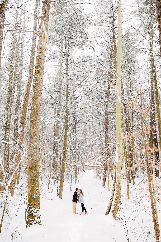 Laurel Falls engagement session, snowy photo session