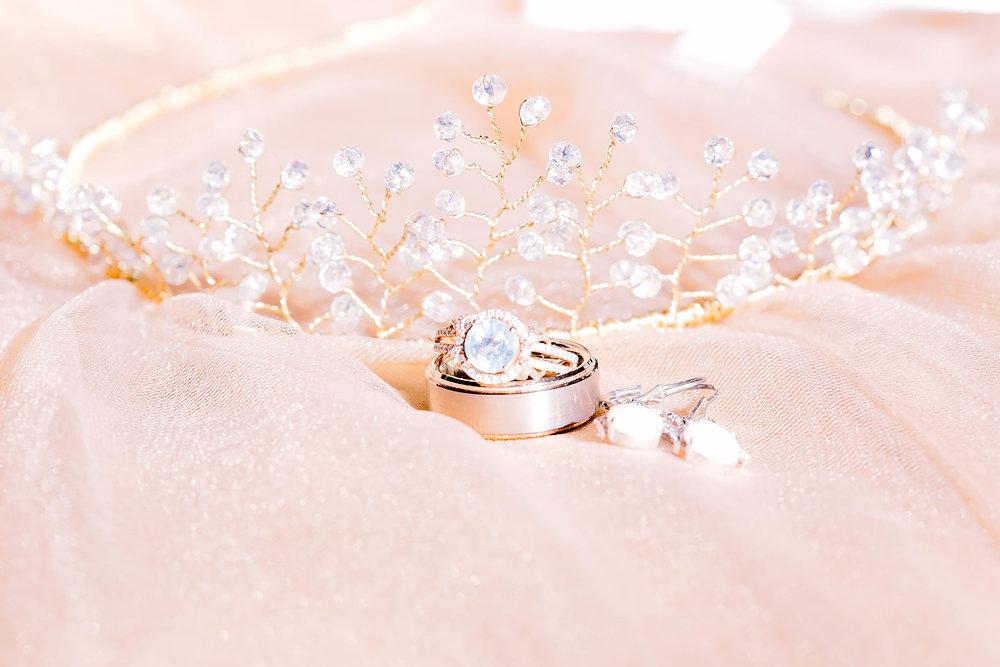Wedding details, bridal tiara, wedding bands, engagement ring