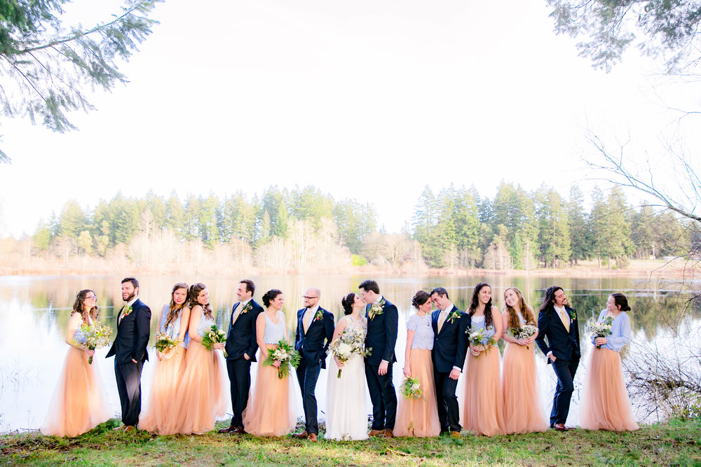 Large uneven fun wedding party