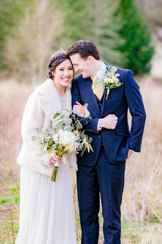 Bride and groom intimate portrait