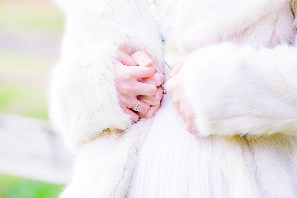 Bride and groom winter wedding, bride's fur coat