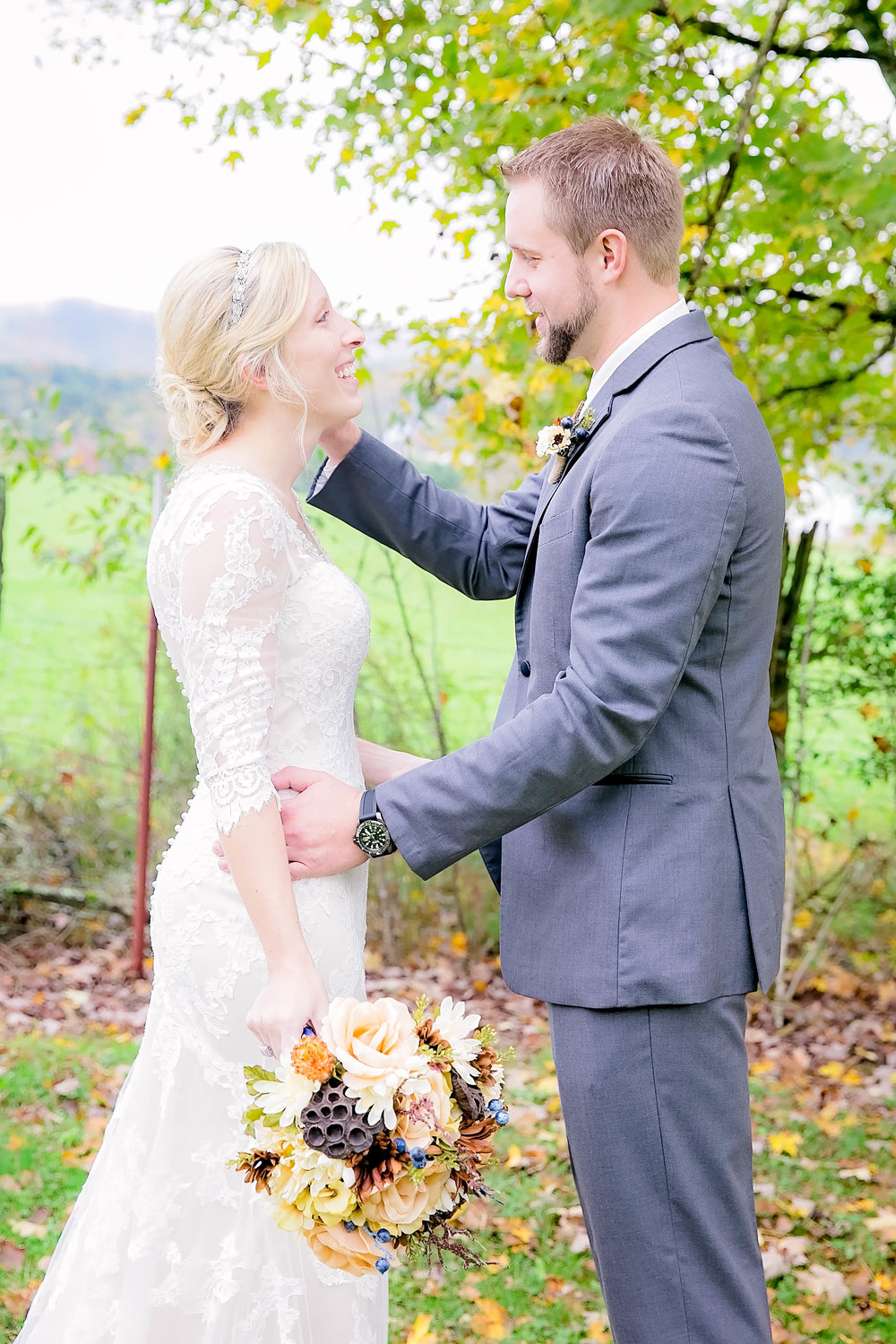 Mountain City, TN farm wedding, East Tennessee fall wedding, bride and groom first look