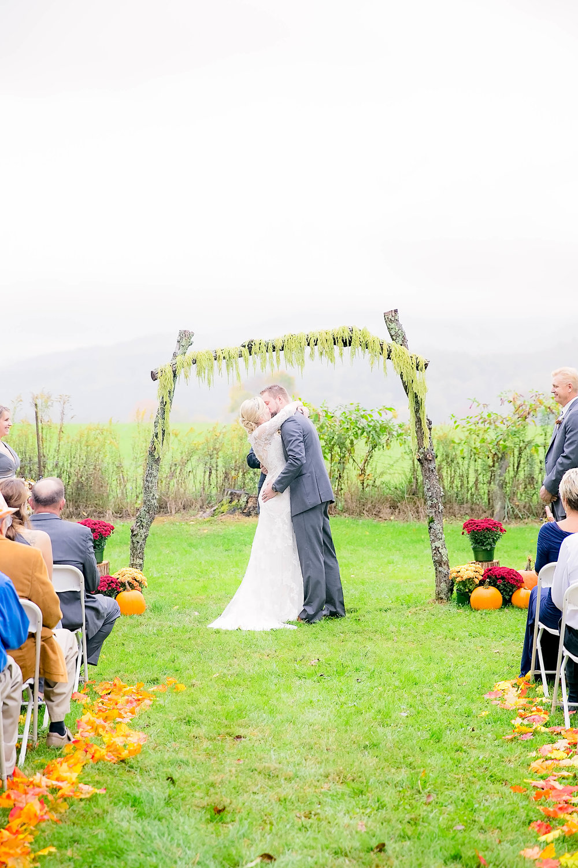 Mountain City, TN farm wedding, East Tennessee fall wedding, Tri Cities Wedding, wedding ceremony, first kiss