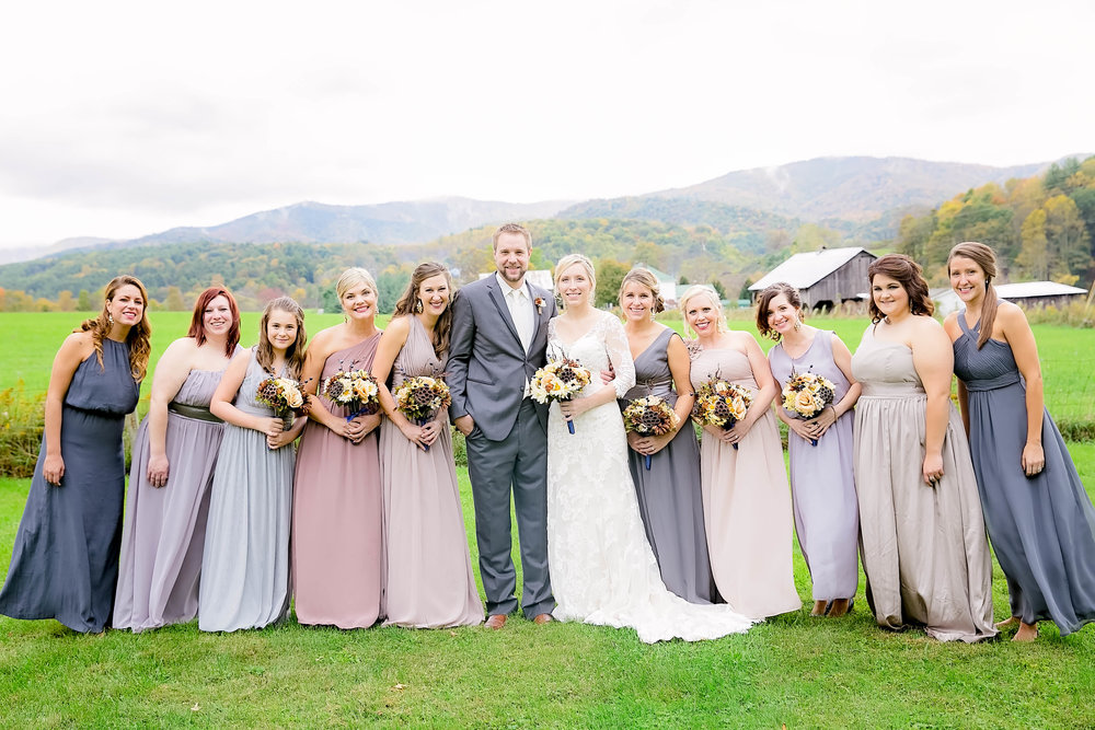Mountain City, TN farm wedding, East Tennessee fall wedding, Tri Cities Wedding, bridal party, wedding party