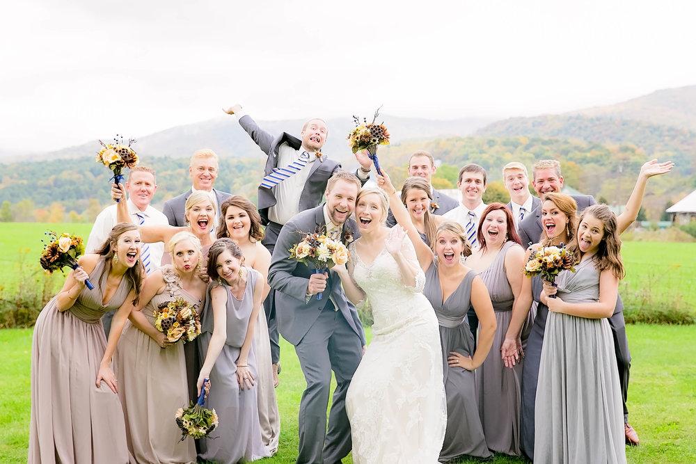 Mountain City, TN farm wedding, East Tennessee fall wedding, Tri Cities Wedding, bridal party, fun wedding party photo
