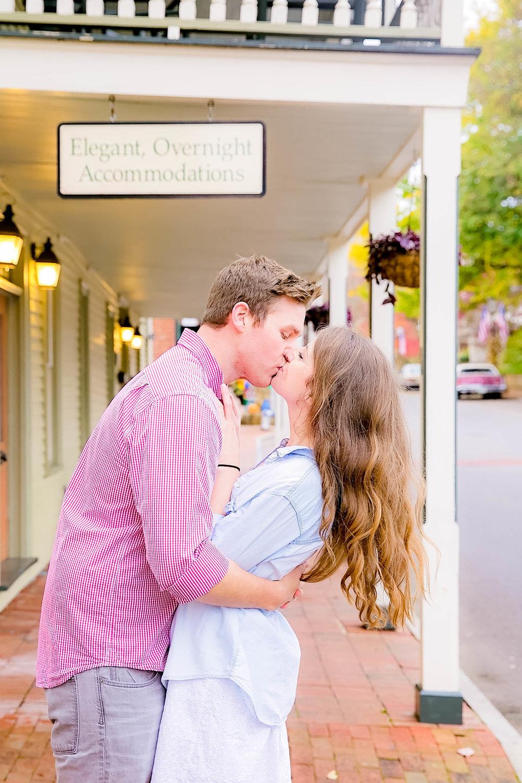 Downtown Jonesborough, TN sunrise engagement, romantic kiss