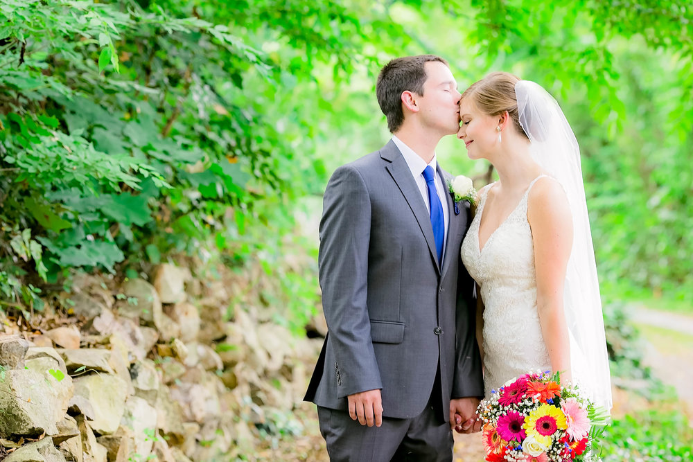 Hot Springs, NC wedding, East Tennessee Wedding photography, bride and groom forehead kiss