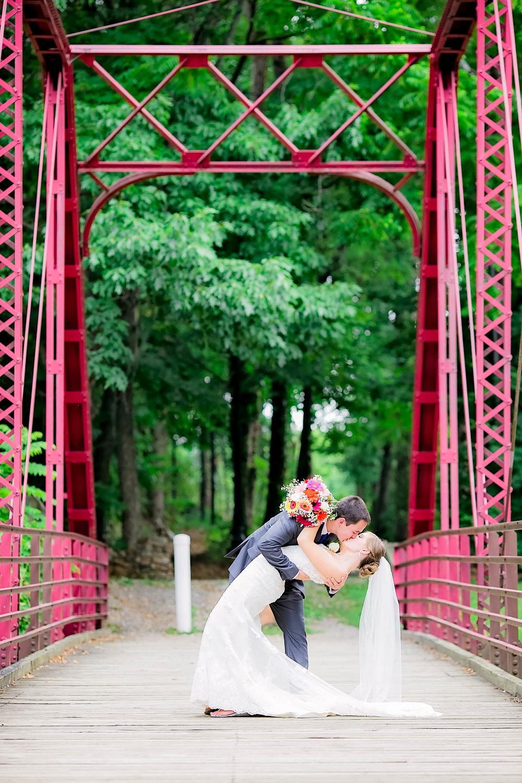 Hot Springs, NC wedding, East Tennessee Wedding photography, bride and groom bridge dip