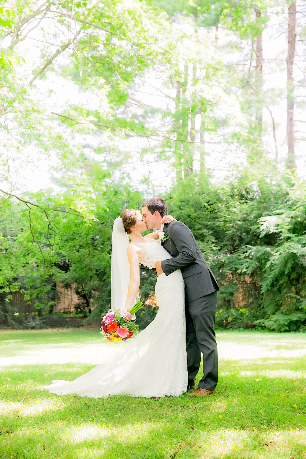 Hot Springs, NC wedding, East Tennessee Wedding photography, bride and groom dip and kiss