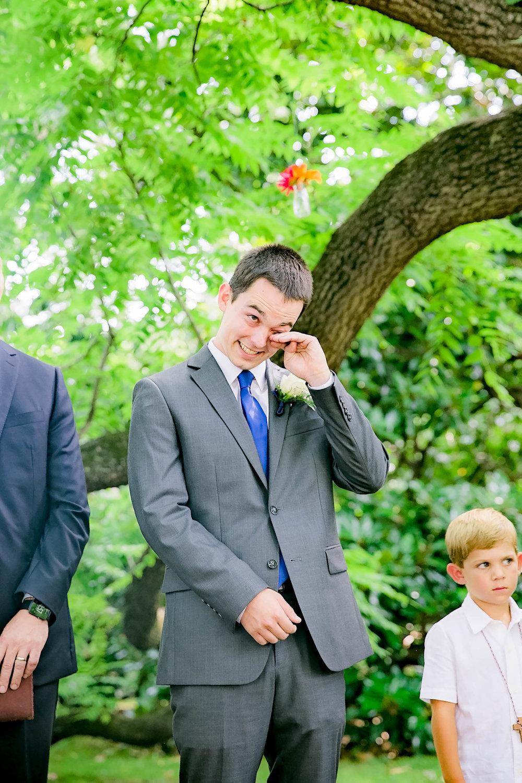 Hot Springs, NC wedding, East Tennessee Wedding photography, wedding ceremony, emotional groom