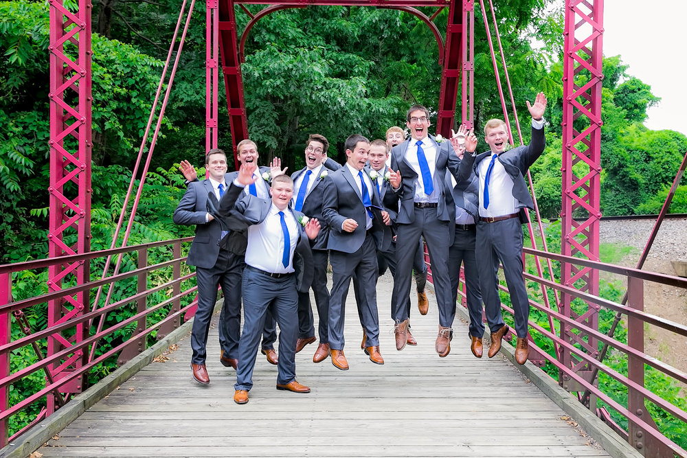 Hot Springs, NC wedding, East Tennessee Wedding photography, wedding party, groomsmen jumping