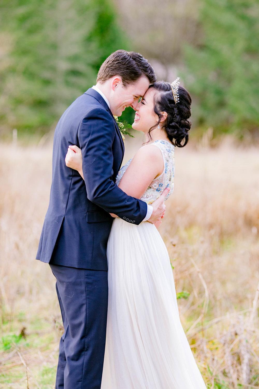 Winter wedding, bride and groom field portraits, bride and groom lakeside portraits, East Tennessee wedding photographer