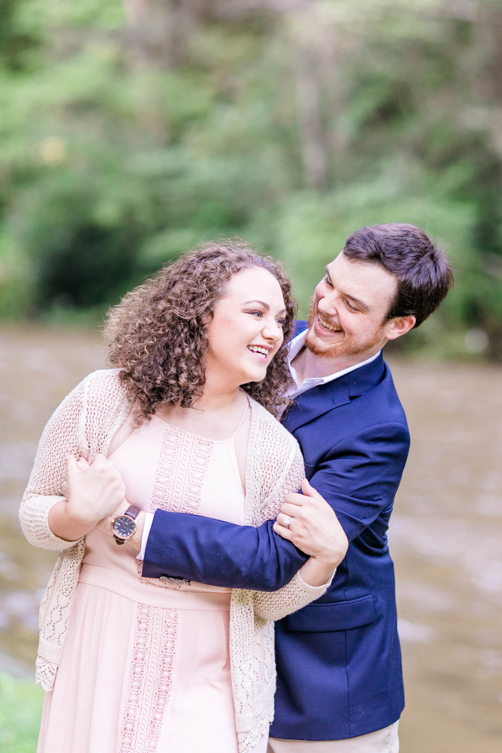 East Tennessee engagement session, wedding photographer, portrait photography, bride and groom, Doe River Gorge, wedding venue, Tri Cities wedding photographer, Johnson City, laughing couple