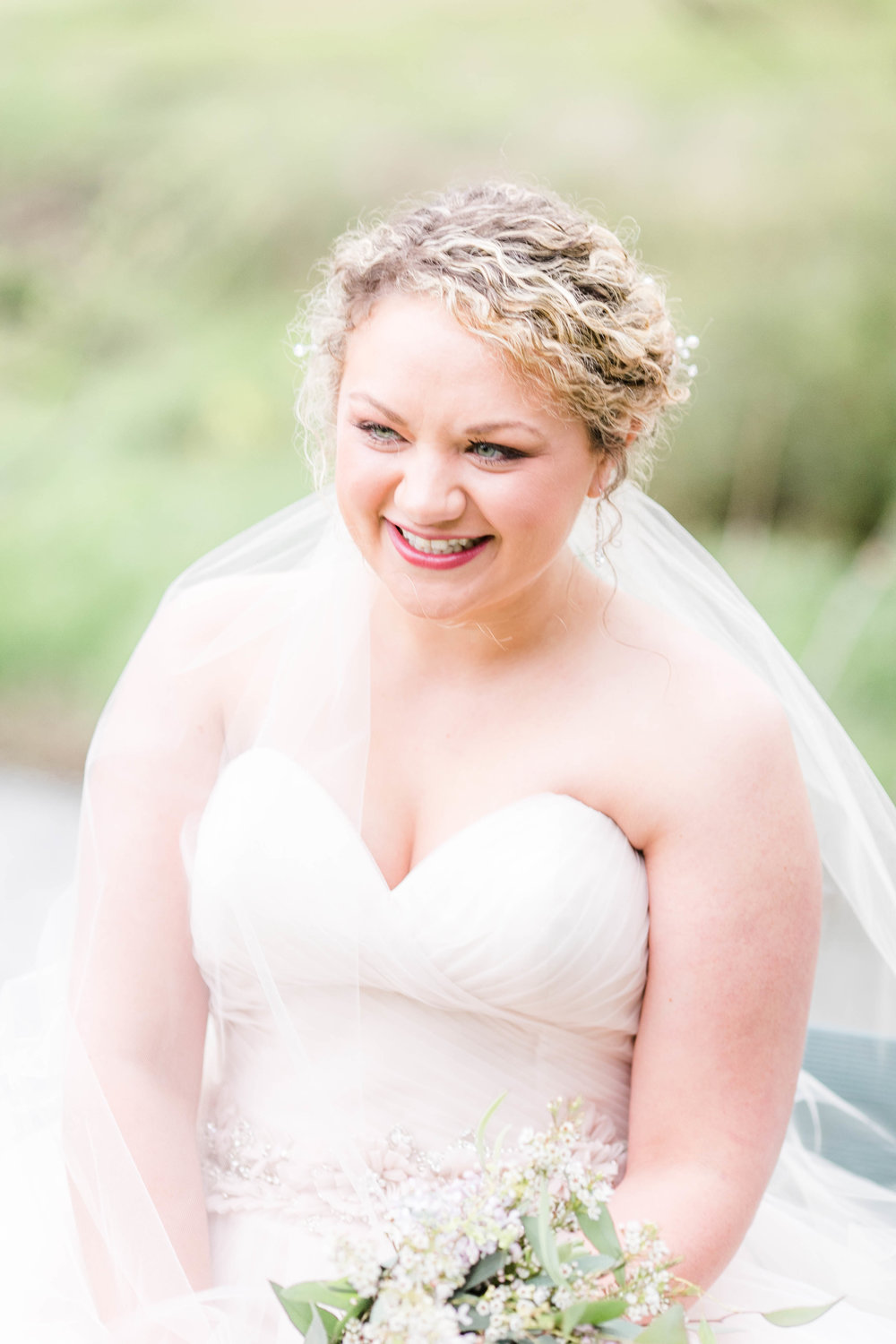 Bridal portrait, happy joyful bride