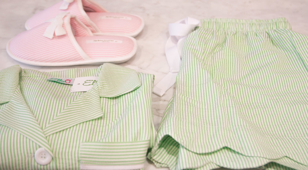 These Seersucker PJs by Ellio are perfect for Easter morning and look adorable monogramed.
