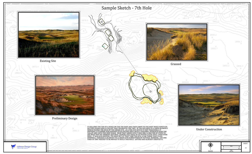 presentation sample Dunes Course - We are always exploring new ways to show how a golf hole might look long before we build it.  Its the one thing everyone wants to see.