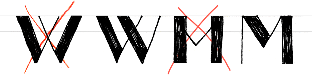 W M Hand Lettering
