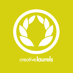 creative laurels logo yellow green logo