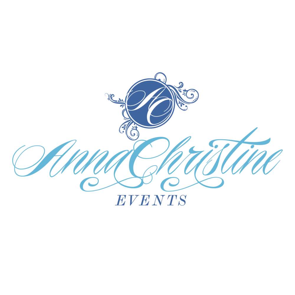 wedding planning logo anna christine events light and dark blue logos