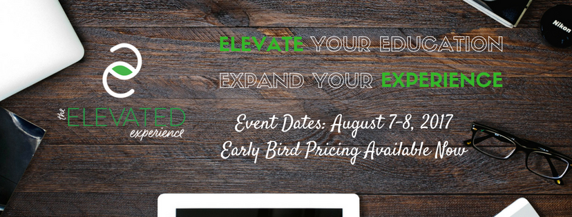 brown wood desktop ipad glasses computer camera dates logo elevate experience event dates