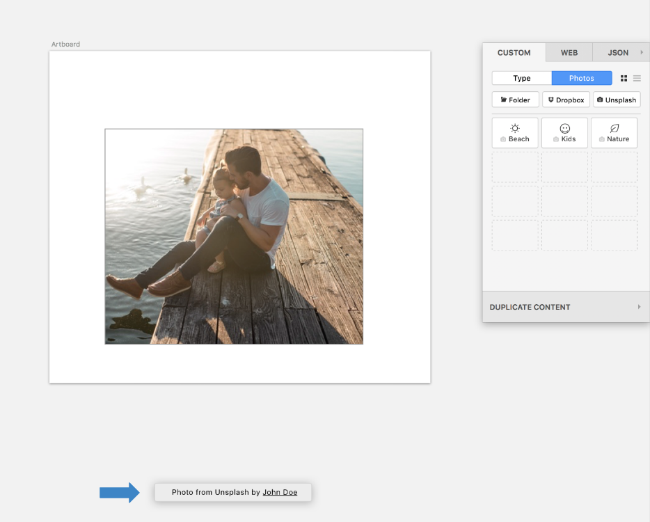Craft by Invision gives both Unsplash and photographer attribution, linking back to the photographer's Unsplash profile.